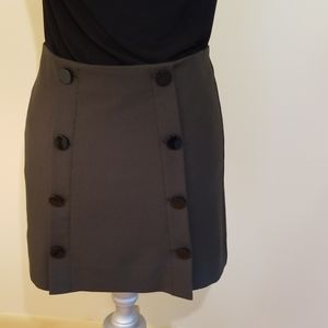 Loft Olive Green Skirt with Black Button Detail